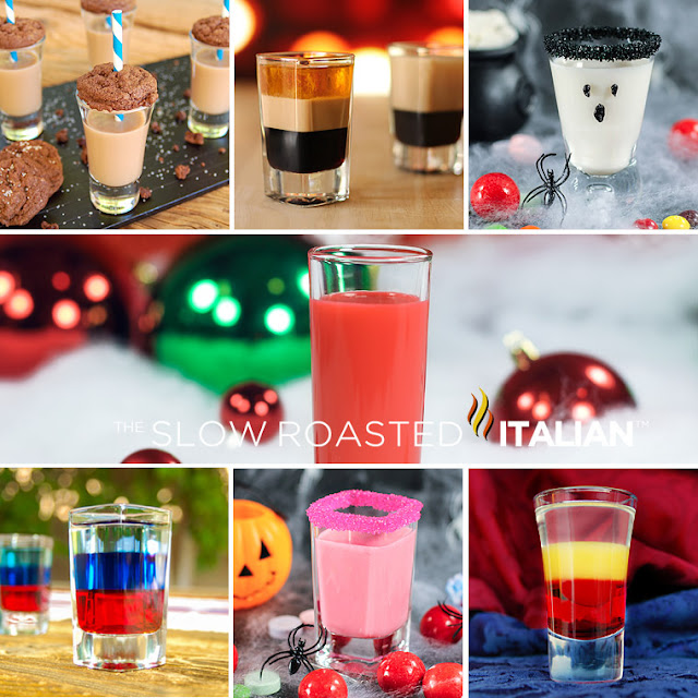 photo collage shows party alcohol shooters