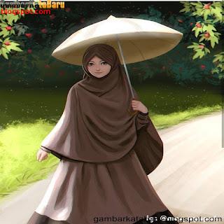 wanita cantik bawa payung berhijab Gambar DP BBM Kartun Lucu Buat Cewek Terbaru