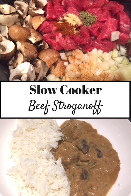 Slow Cooker Beef Stroganoff ingredients and cooked in a bowl with rice