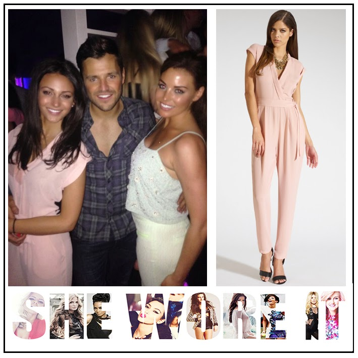 Michelle Keegan, Kardashian, Lipsy, Nude, Pink, V-Neck, Belted, Jumpsuit, High Waist, Tailoring, Cap Sleeves, Essex,