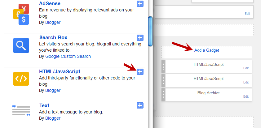 blogger html javascript gadget