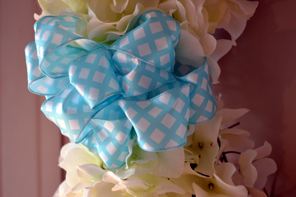 Blue Bow on Grapevine Wreath