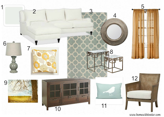 Home with Baxter: Design Board (Blue and Gold Family Room)