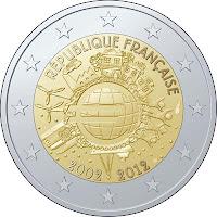 10 vuotta euroseteleitä ja kolikoita 2012 Ranska