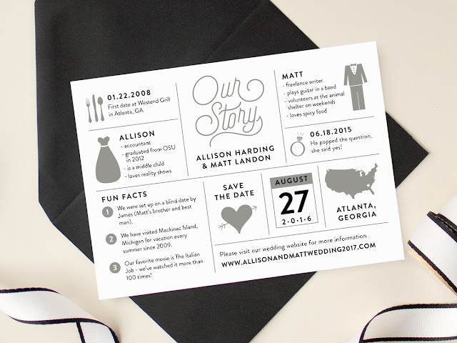 modern infographic design wedding save the date cards