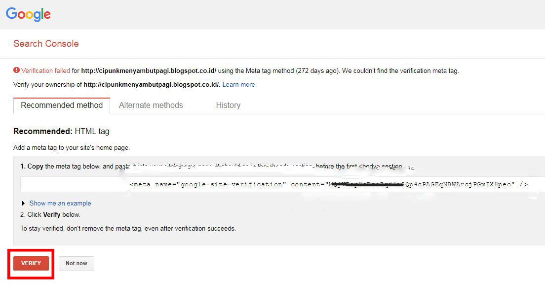 cara verifikasi blog pada Google webmaster tool
