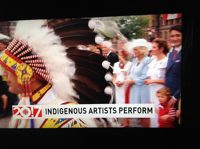 Screenshot CBC coverage Canada 150, Ottawa - Indigenous performer leaves dignitary line to dance