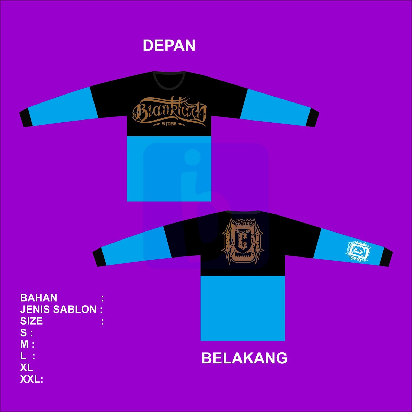 Download MockUp Order Kaos Motif Lengan Panjang Sambung