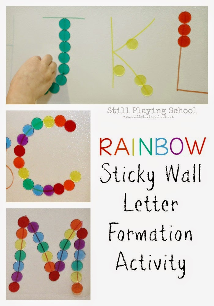 rainbow sticky wall letter formation still playing school. Black Bedroom Furniture Sets. Home Design Ideas
