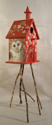 barn owl, owl art, birdhouse,