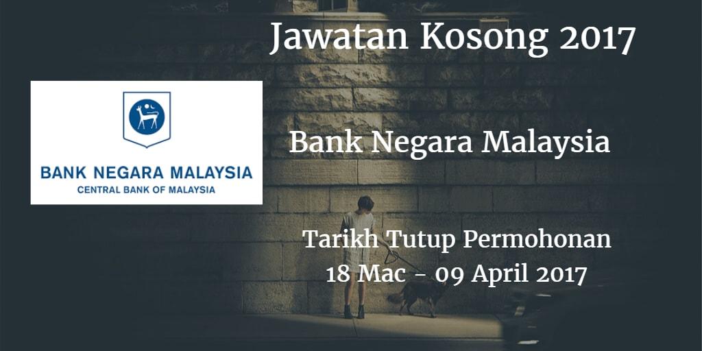 Jawatan Kosong BNM 18 Mac - 09 April 2017