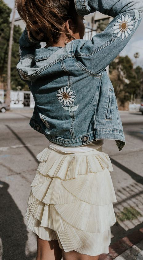 outfit of the day   embroidered denim jacket + skirt