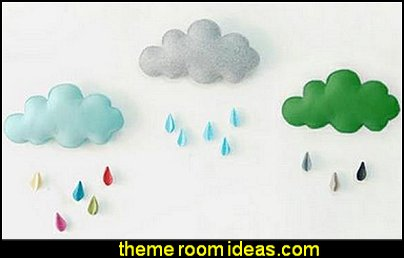 weather themed bedroom ideas - rain decorating ideas for weather themed bedrooms - rain theme bedroom wall decorations - Rain Theme  -  Rainbow Theme   -  Sun Theme  -  Snow Theme  -  Ice Theme - Weather themed Nursery decor -  seasonal decorating ideas - ideas for rain themed bedrooms - raindrop themed bedrooms -  springtime shower - rain cloud wall decals - Raindrop garlands - Paper raindrops