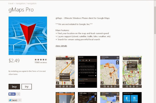 gMaps Pro brings Version 3.0 for Windows Phone