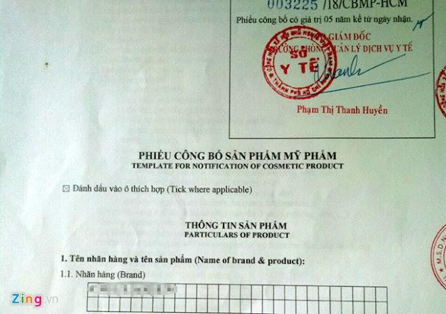 Phiếu công bố sản phẩm C. được Sở Y tế TP.HCM xác nhận