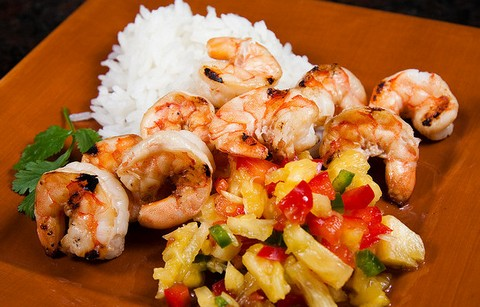 Roasted Coconut Shrimp with Spicy Pineapple Salsa