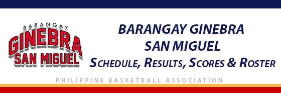 PBA: Barangay Ginebra San Miguel Schedule, Results, Scores, Roster