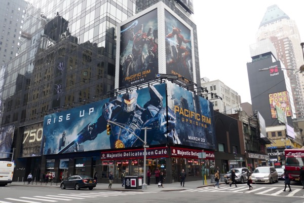 Pacific Rim Uprising movie billboards Times Square