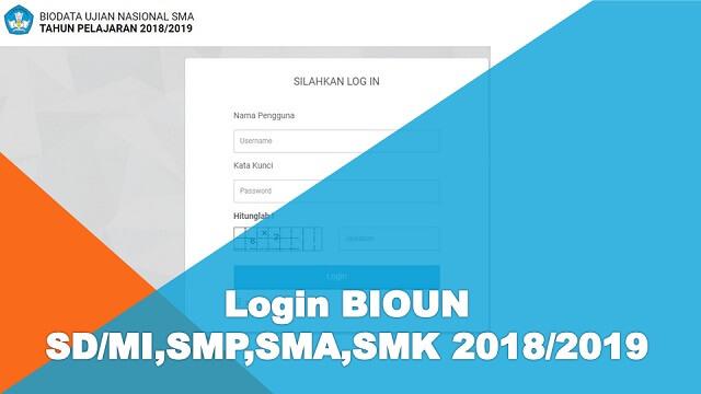 data akseptor di sinkronkan melalui aplikasi BIOUN online yang sumber datanya diambil dari Login BIOUN SD/MI,SMP,SMA,SMK 2018/2019