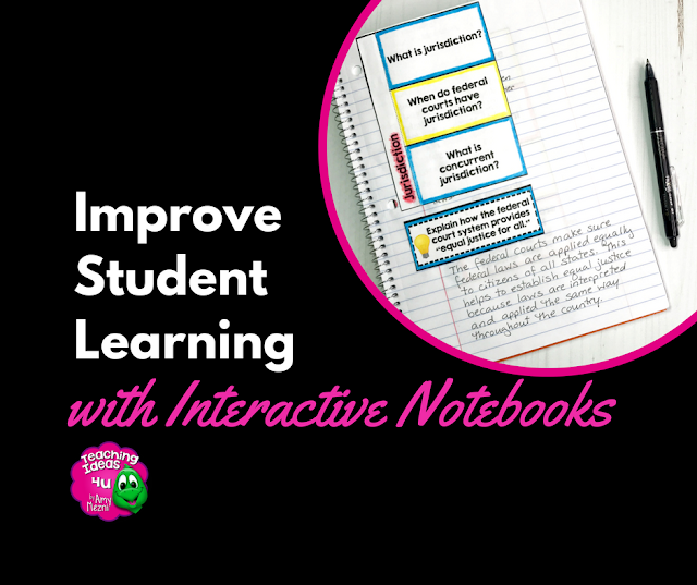 How to Improve Student Learning with Interactive Notebooks - Interactive notebooks can be powerful tools to improve students reading comprehension and note-taking skills, as well as support students' recall of class concepts.  Stop by the blog to learn different ways to use interactive notebooks in your classroom to increase student learning!