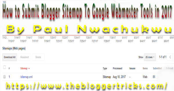 how to submit blogger sitemap to google webmaster tools 2017