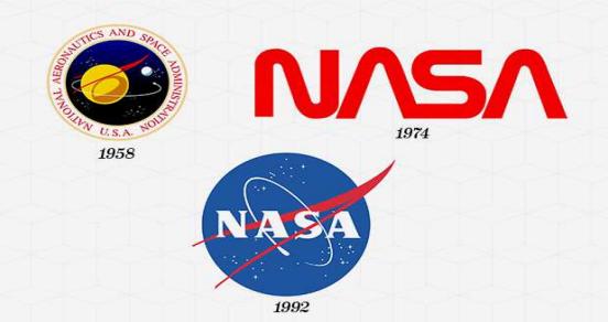 los 3 logos de la nasa a través de los años