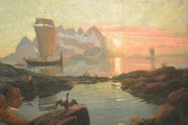 Oslo musée de la marine Thorlof Holmboe (1866-1935) Bateau du Nordland au soleil de minuit
