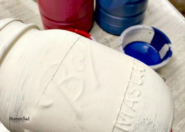 white painted mason jar