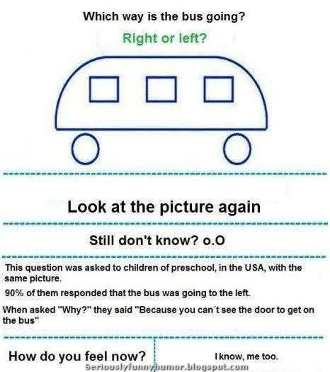 Which way is the bus going? Right or left? Look at the picture again. Still don't know? Mindfuck!