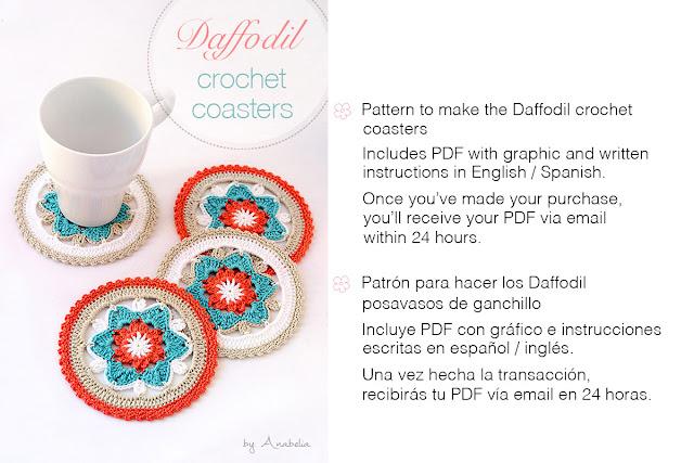 Daffodil crochet coasters by Anabelia