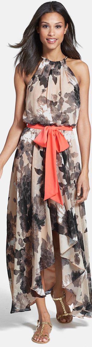 Eliza J Floral Print Chiffon High/Low Dress Taupe/Black