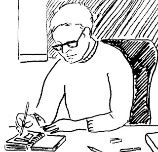 Drawing of author and writer David Borden from the comic book: And Yet We Rise. He is drawing the comic in the image.