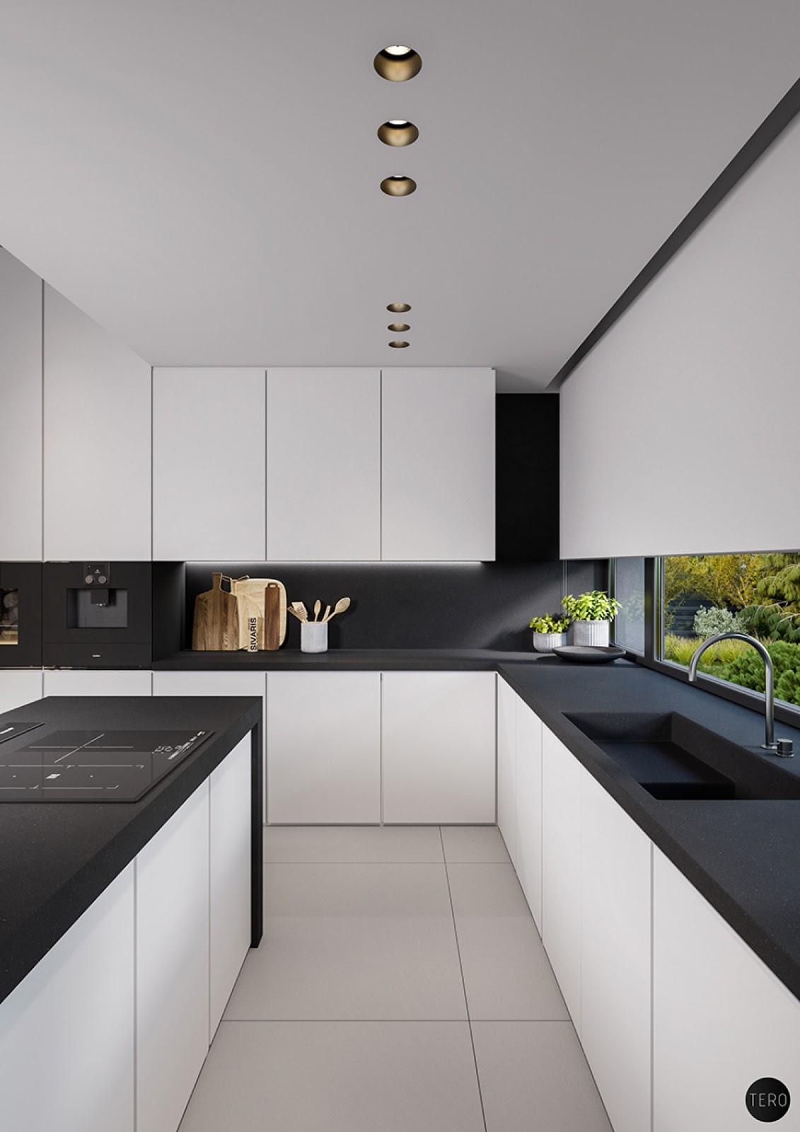 40 Desain Dapur Mewah Bernuansa Hitam Putih