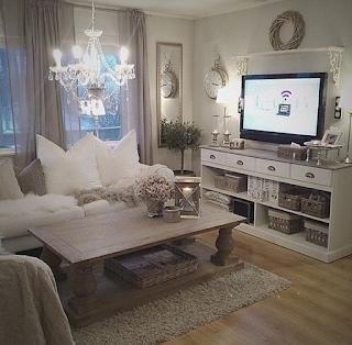 Desain ruang tamu sederhana konsep shabby