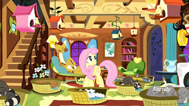 Fluttershy's livingroom filled with sleeping animals in baskets, birds on perches, and a giraffe on her couch.