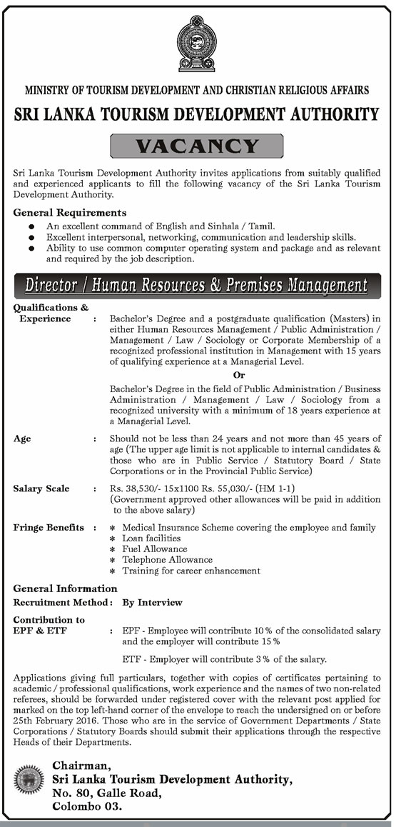 Vacancies - Director / HUman Resources & Premises Management - Sri Lanka Tourism Development Authority - Ministry of Tourism Development & Christian Religious Affairs
