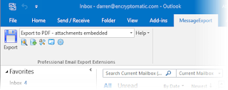 Shows MessageExport installed in Outlook toobar.