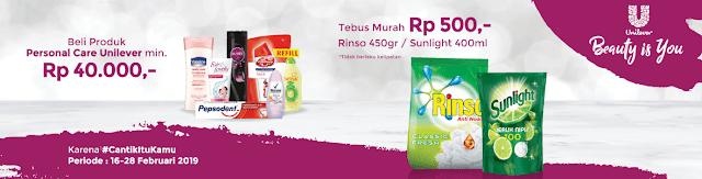 #Alfacart - #Promo Tebus Murah Produk Unilever Min Belanja 40Ribu (s.d 28 Feb 2019)