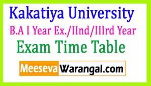 Kakatiya University B.A I Year Ex./IInd/IIIrd Year Mar-Apr 2017 Exam Time Table
