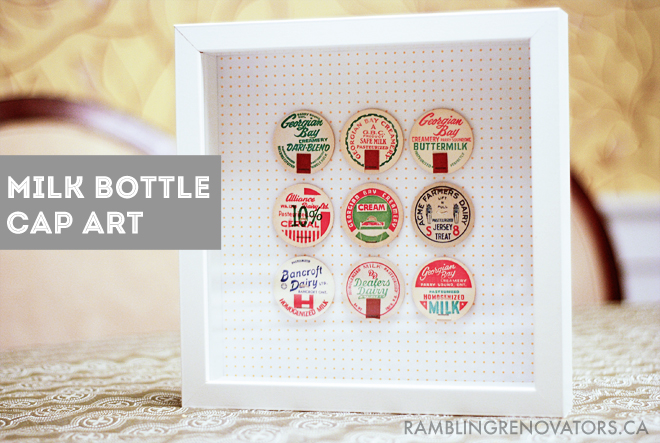 diy craft using vintage milk bottle caps, kitchen art diy