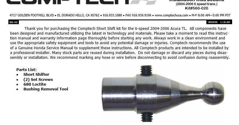 Acura Tl Short Shifter Installation Instructions border=