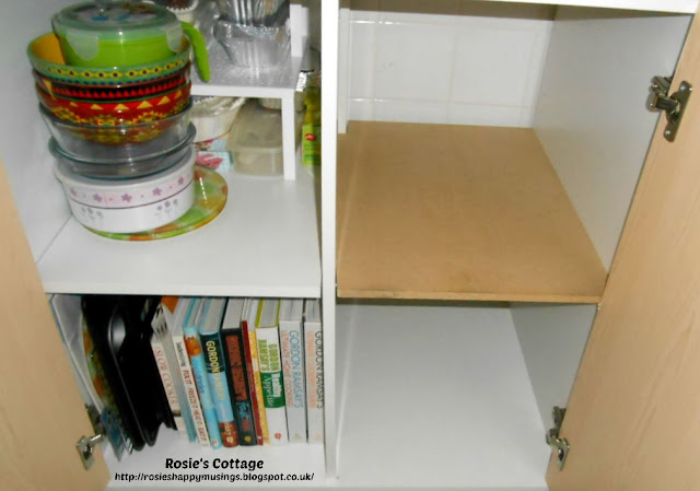 Extra shelf made from MDF added to Ikea Fyndig cabinet