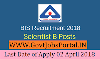 Bureau of Indian Standards Recruitment 2018– 109 Scientist-B
