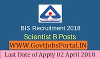 Bureau of Indian Standards Recruitment 2018– 109 Scientist-B
