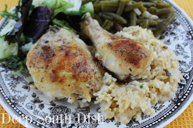 Bone-in, skin-on, chicken thighs and legs, or a whole chicken, cut up, seasoned and baked with cream soup and rice for a flavorful, tender baked chicken.