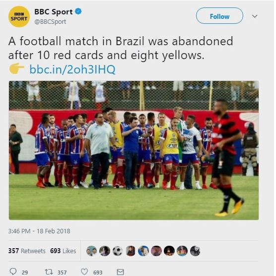 Football match ends in fight as Referee issues 9 red cards and 8 yellows