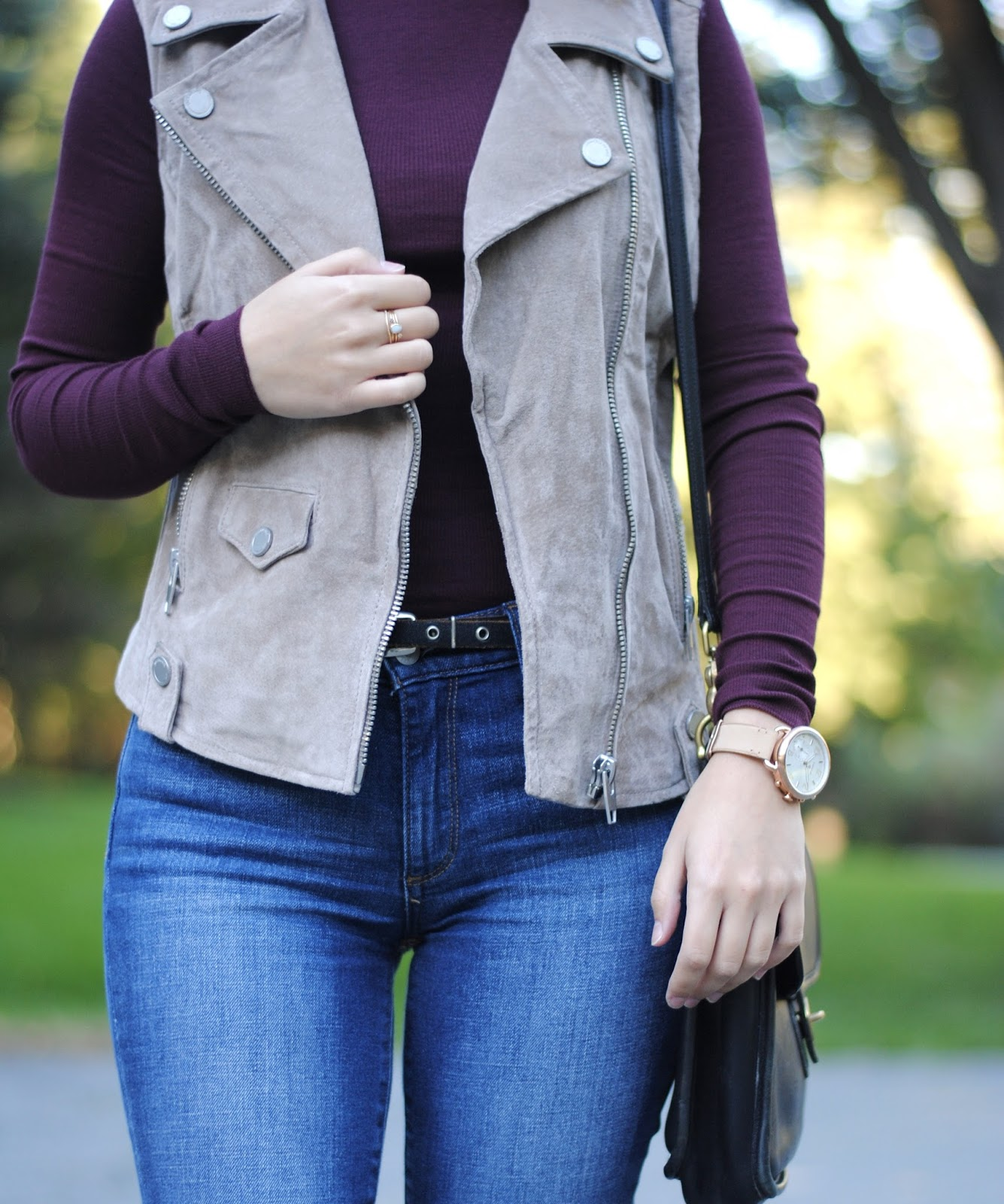 burgundy turtleneck styling blank nyc beige vest gap jeans fossil q tailor watch catbird nyc rings