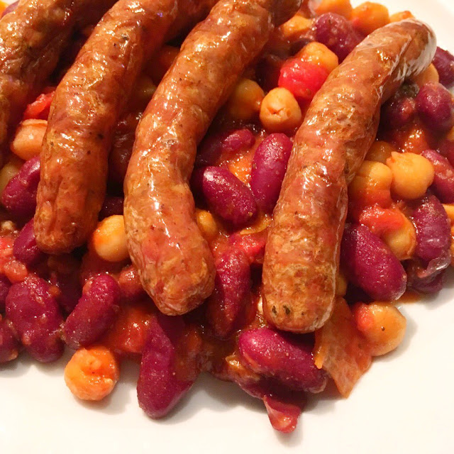Closeup of the sausage and beans