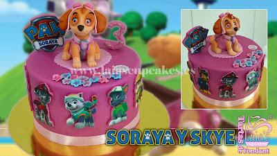 tarta personalizada fondant patrulla canina skye modelado 3d perrita paw patrol laia's cupcakes puerto sagunto