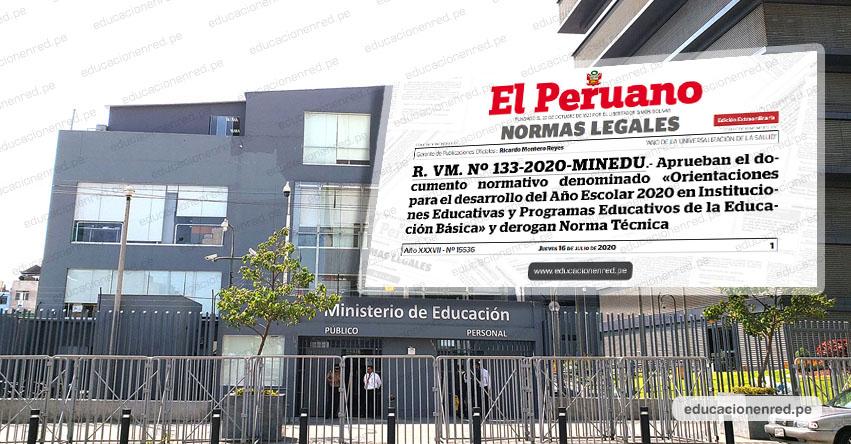 MINEDU establece vacaciones escolares del 27 al 31 de julio (R. VM. Nº 133-2020-MINEDU)